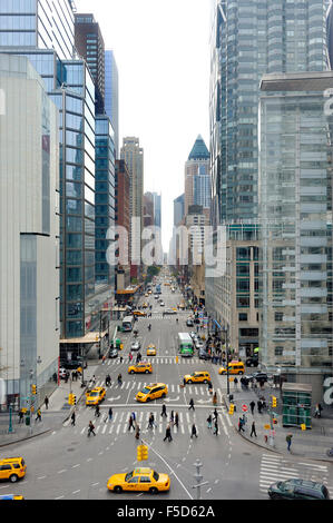 NEW YORK,U.S.A.-NOVEMBER 10,2012: 8th Ave seen from Columbus Statue at Columbus Circle in Manhattan, New York - Stock Photo