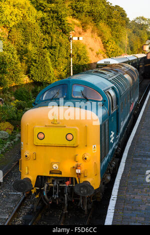 Class 55 Deltic 55019 at Bewdley Railway station on the Severn Valley Railway - Stock Photo
