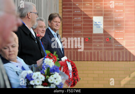 Sir John Madejski (Co-Chairman of Reading football Club ) takes part in a remembrance service before the Sky Bet - Stock Photo