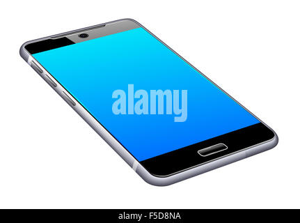 Phone Cell Smart Mobile 3D laying flat - Stock Photo