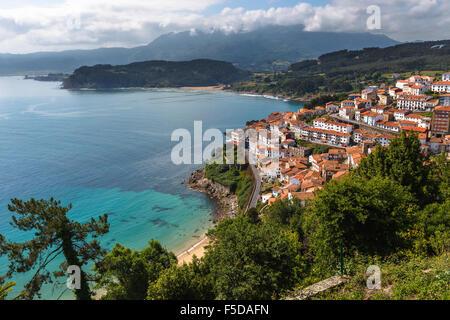 Lastres view from San Roque Viewpoint, Concejo de Colunga, Asturias, Spain. - Stock Photo