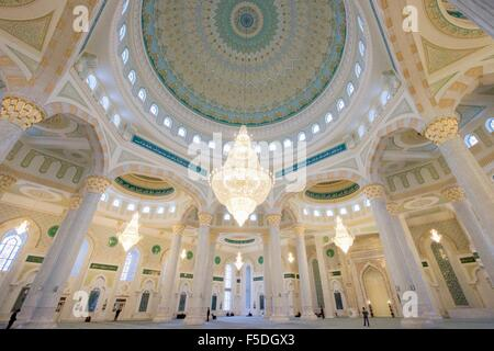 Interior view of the Hazrat Sultan Mosque, the largest in Central Asia November 2, 2015 in Astana, Kazakhstan. - Stock Photo