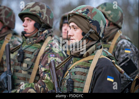 Ukrainian Army Ground Forces soldiers following a live-fire training exercise at Central City Camp, International - Stock Photo