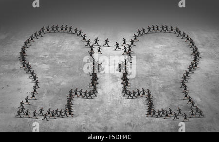 Teamwork leadership business concept or employee poaching symbol as a group of running businesspeople shaped as - Stock Photo