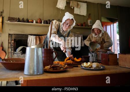 Costumed Interpreters, Old Sturbridge Village, Sturbridge, Massachusetts - Stock Photo