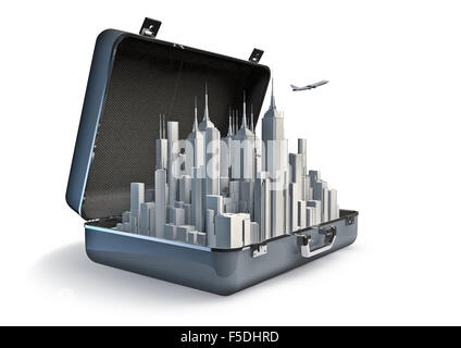 Package holiday city / 3D render of urban tourism concept - Stock Photo