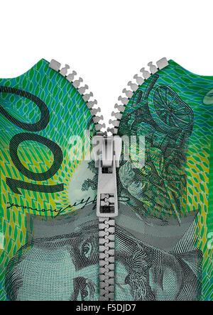 Zippered Australian hundred dollar note / 3D render of hundred Australian dollar note split with zipper - Stock Photo