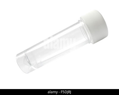 Empty transparent medical container isolated on white - Stock Photo