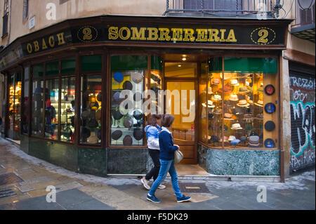 Sombrereria traditional hat shop in Barcelona Catalonia Spain ES - Stock Photo