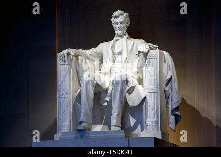 Statue of Abraham Lincoln, Lincoln Memorial, Washington, District of Columbia USA - Stock Photo