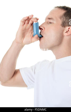 sport man using a asthma pump - Stock Photo