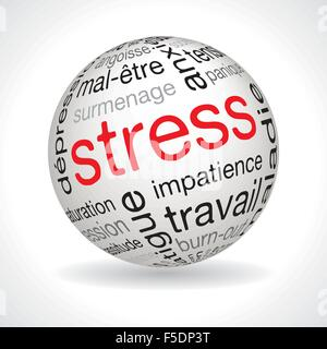 French stress theme sphere with keywords full vector - Stock Photo
