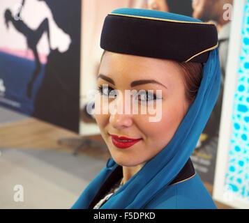 London, UK. 02nd Nov, 2015. Oman Air, cabin crew. World Travel Market at Excel London 2015. Credit:  Dorset Media - Stock Photo