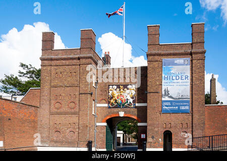 Entrance gate to Chatham Historic Dockyard, Chatham, Kent, England, United Kingdom - Stock Photo