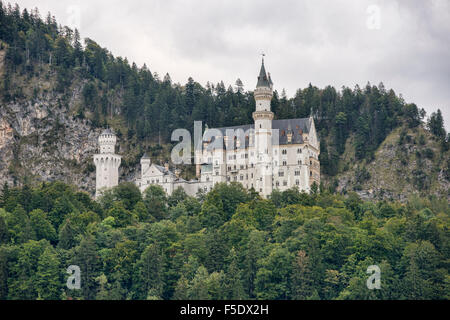 The fairy tale Schloss Neuschwanstein castle in Schwangau, Bavaria, Germany - Stock Photo