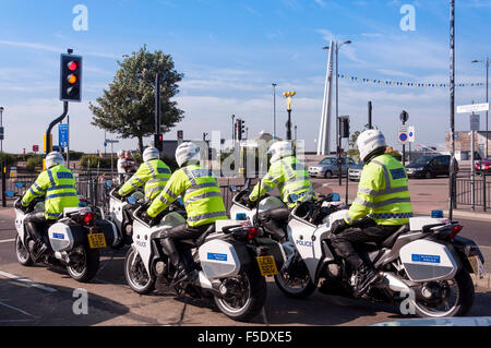 Metropolitan Police motorcycle team, Southchurch Avenue, Southend-on Sea, Essex, England, United Kingdom - Stock Photo