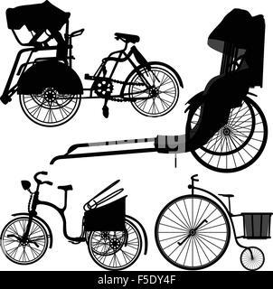 Bicycle Trishaw Tricycle Old Wheel - Stock Photo