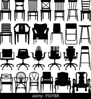 Chair Design Black Silhouette Set - Stock Photo