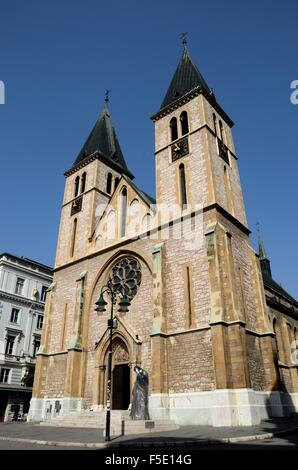 Catholic Sacred Heart Cathedral in Old Sarajevo town Bosnia Hercegovina - Stock Photo