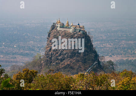 Popa Taung Kalat, a Buddhist monastery on a steep volcanic plug of Mount Popa. Mandalay Region, Myanmar (Burma). - Stock Photo