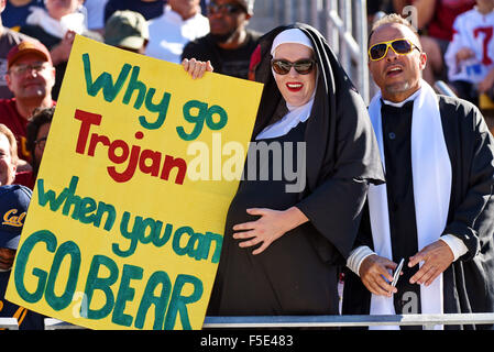 Berkley, CA. 31st Oct, 2015. Fans of the Cal Bears in action during a 27-21 loss to the USC Trojans at Kabam Field - Stock Photo