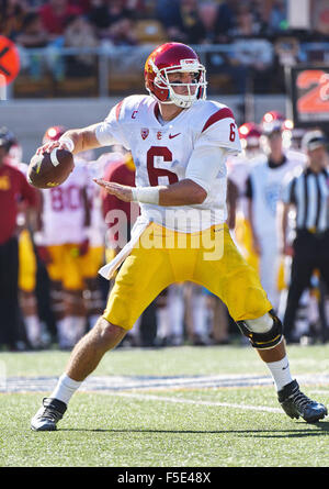 Berkley, CA. 31st Oct, 2015. of the USC Trojans in action during a 27-21 victory over the Cal Bears at Kabam Field - Stock Photo