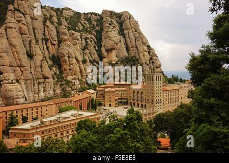 Monastery, Mountain of Montserrat, near Barcelona, Catalunya, Spain, Europe - Stock Photo