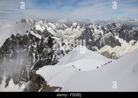 Mountaineers and climbers, Mont Blanc Massif, Aiguille du Midi, Chamonix, Haute Savoie, French Alps, France, Europe - Stock Photo