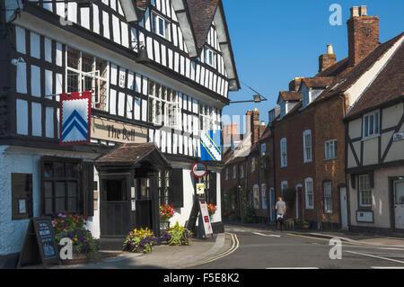 Half timbered historic Inn on Church Street, Tewkesbury, Gloucestershire, England, United Kingdom, Europe - Stock Photo