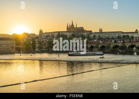Royal Palace and St. Vitus's Cathedral at sunset, Prague, Czech Republic, Europe - Stock Photo