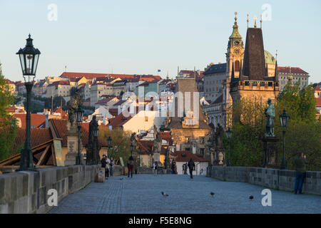 Early morning on Charles Bridge, UNESCO World Heritage Site, Prague, Czech Republic, Europe - Stock Photo