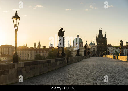 Sunrise on Charles Bridge, UNESCO World Heritage Site, Prague, Czech Republic, Europe - Stock Photo