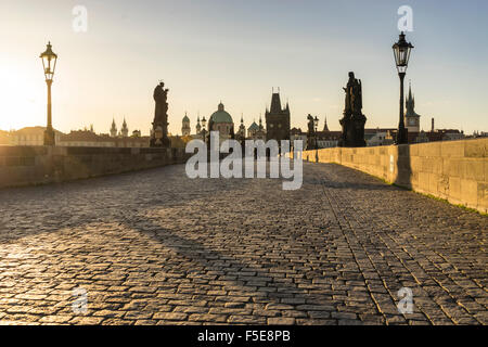 Sunrise on Charles Bridge, UNESCO World Heritage Site, Prague, Czech Republic, Europe - Stock Photo