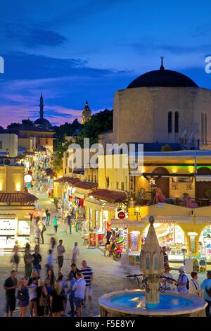 Hippocrates Square and Sokratous Street, Rhodes, Dodecanese, Greek Islands, Greece, Europe - Stock Photo