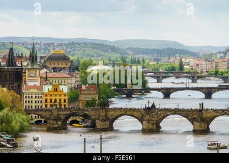 Prague cityscape its bridges connecting the Old Town to Mala Strana, Prague Castle and Hradcany, Prague, Czech Republic - Stock Photo