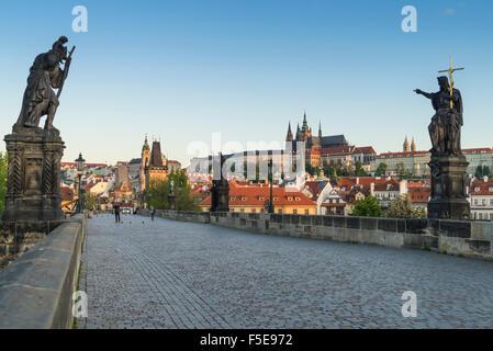 Early morning on Charles Bridge, UNESCO World Heritage Site, Prague, Czech Republic, Europe - Stock Photo