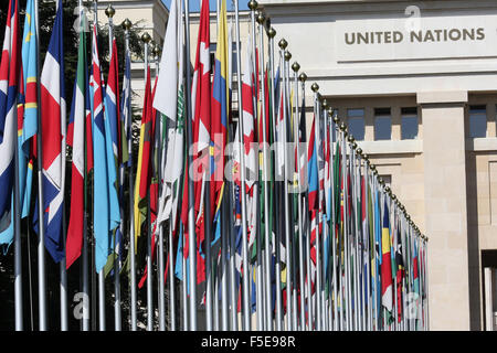 The flag lined approach to the entrance to the United Nations' Headquarters in Geneva, Switzerland, Europe - Stock Photo
