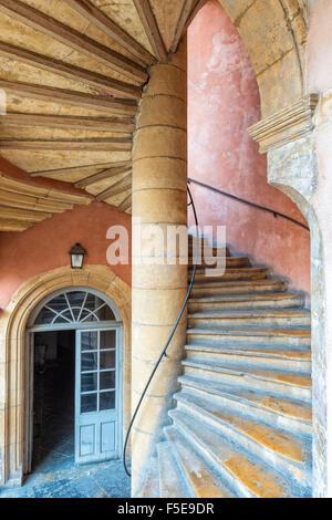 Traboule Hotel Paterin, Saint Jean district, Old Lyon, UNESCO World Heritage Site, Lyon, Rhone, France, Europe - Stock Photo