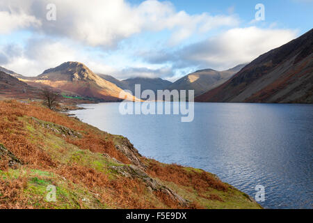 A view of Wast Water towards Scafell Pike on a bright sunny day, Lake District, Cumbria, England, United Kingdom, - Stock Photo