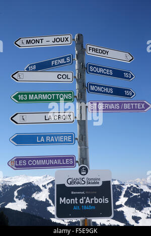 Skiing slope signs in Saint-Gervais les Bains, Haute-Savoie, France, Europe - Stock Photo