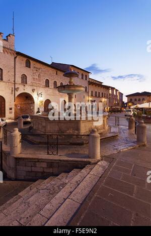 Fountain at Piazza del Comune Square, Assisi, Perugia District, Umbria, Italy, Europe - Stock Photo