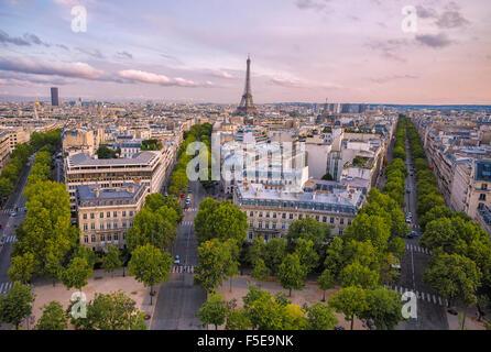 View over Paris at sunset, Paris, France, Europe - Stock Photo
