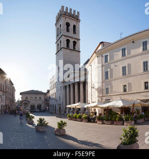 Palazza del Capitano del Popolo, Santa Maria sopra Minerva Church, Piazza del Comune Square, Assisi, Umbria, Italy - Stock Photo