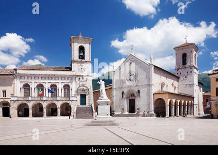 Piazza San Benedetto Square, Norcia, Monti Sibillini National Park, Perugia District, Umbria, Italy, Europe - Stock Photo