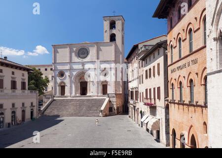Piazza del Popolo Square, Duomo Santa Maria Cathedral, Todi, Perugia District, Umbria, Italy, Europe - Stock Photo