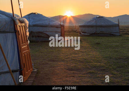 Sunrise over gers in summer, Nomad camp, Gurvanbulag, Bulgan, Northern Mongolia, Central Asia, Asia - Stock Photo