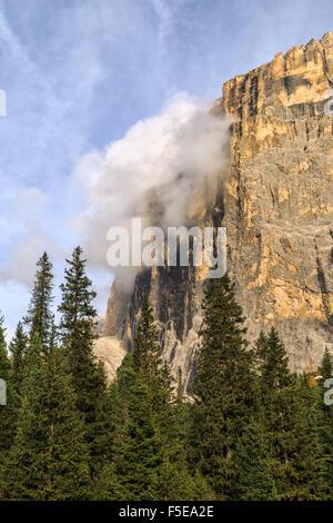Autumn landscape at Sella Pass, Fassa Valley, Trentino-Alto Adige, Dolomites, Italy, Europe - Stock Photo