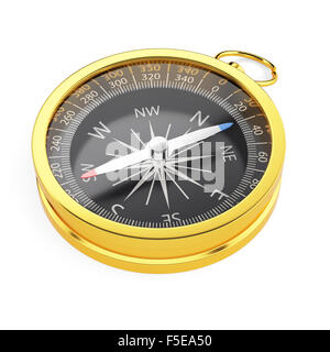 3d render of golden compass isolated on white background