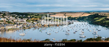 Panoramic view of Salcombe from East Portlemouth, East Portlemouth, Devon, England, United Kingdom, Europe - Stock Photo