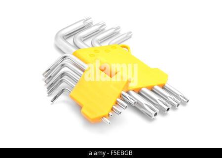 hex key set on white - Stock Photo